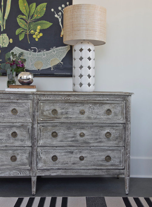 Gray Washed Bedroom Dresser in Gustavian Style