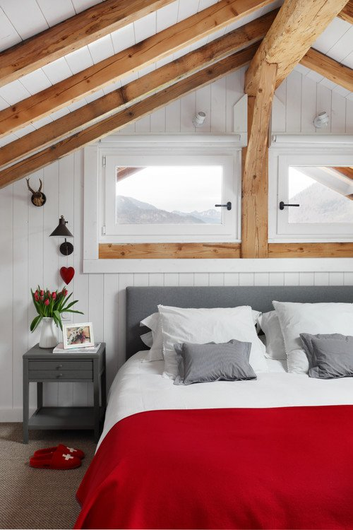 Scandinavian Style Bedroom in Red and Gray