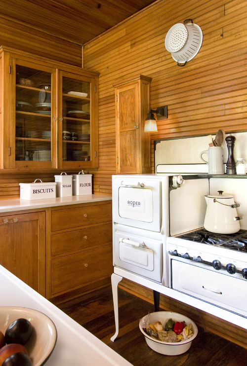 Primitive Style Kitchen with Wood Plank Walls