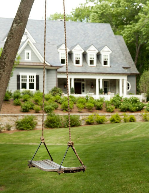 Traditional Home with Tree Swing