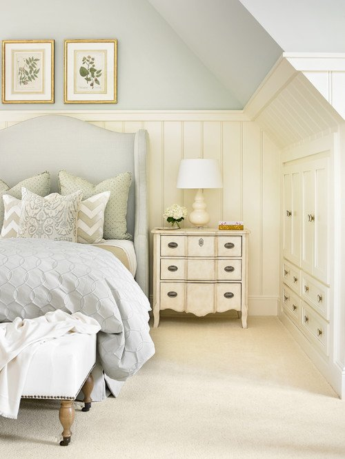 Cream and Light Blue Traditional Bedroom in Buckhead Home
