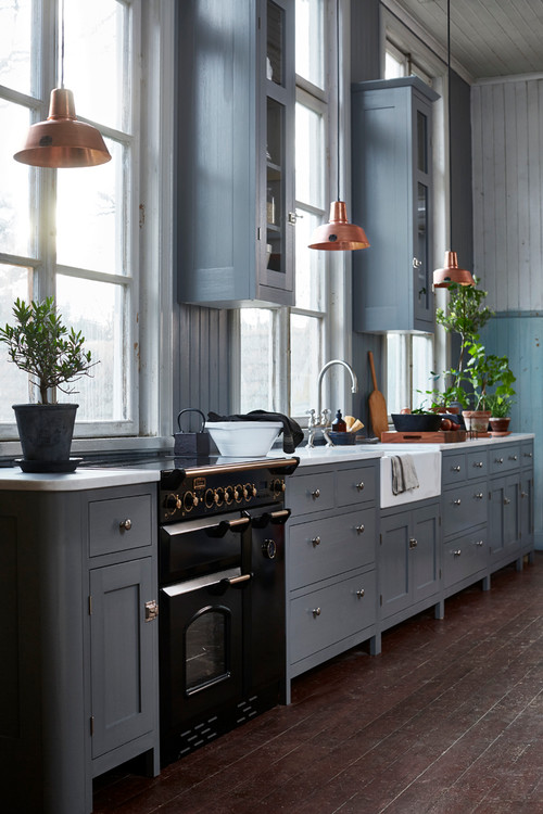 Blue-Gray Kitchen Cabinets