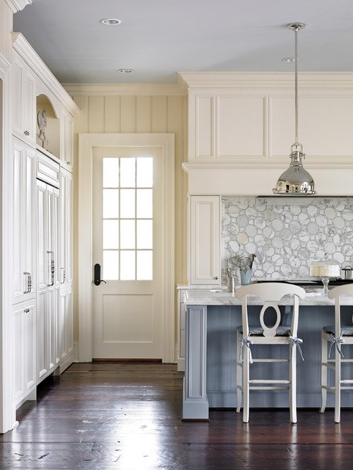 Light Blue and Cream Colored Kitchen