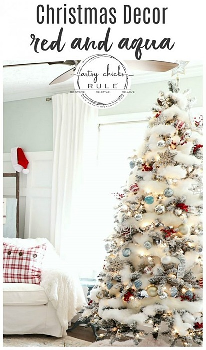 Red and Aqua Christmas Tree by Artsy Chicks Rule
