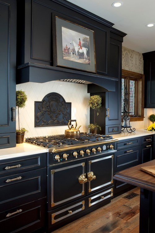 Traditional Black Kitchen with Black Stove