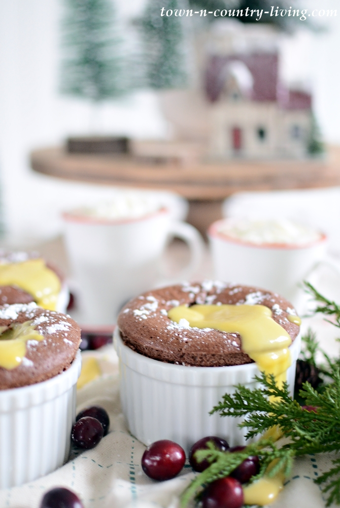 Chocolate Souffle with Creme Anglais