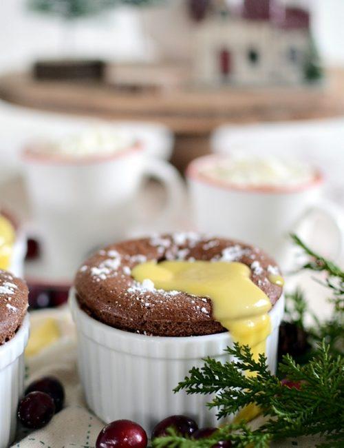 Chocolate Souffle with Creme Anglais