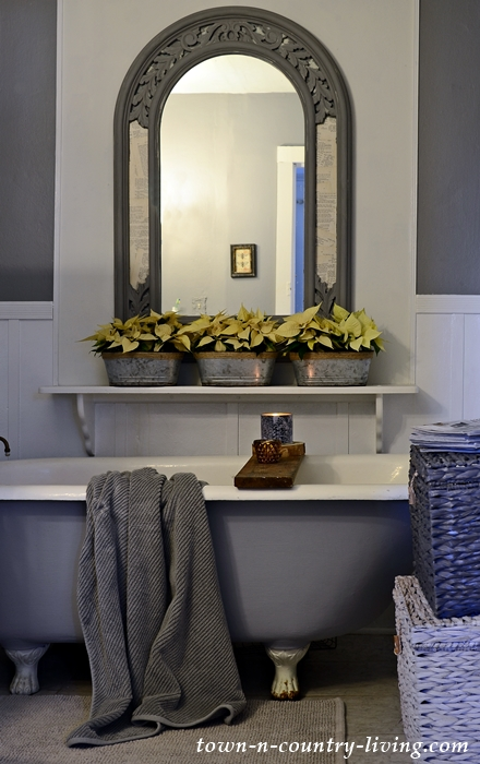 Gray and White Country Bathroom with Painted Claw Foot Tub