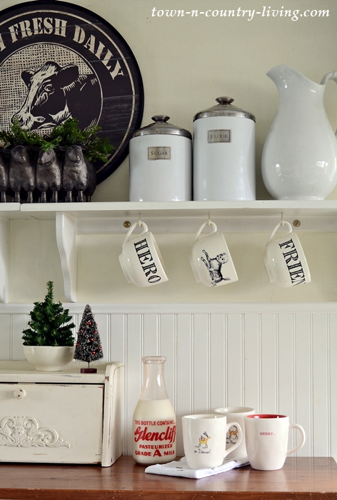 Vintage Milk Jug with Christmas Mugs in a Country Kitchen