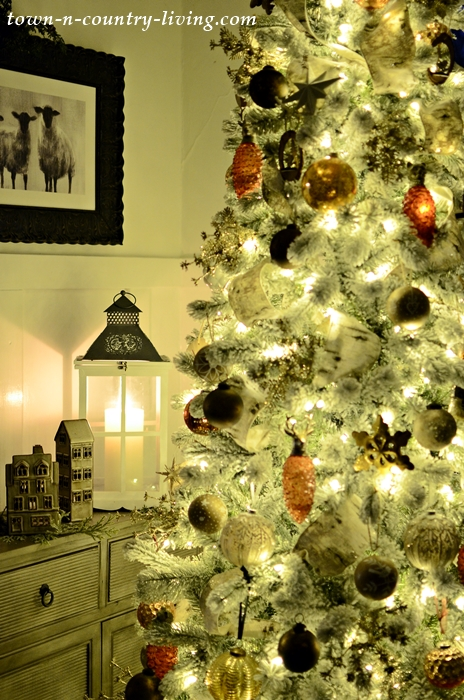 Bronze and Neutral Christmas Tree in Early Evening