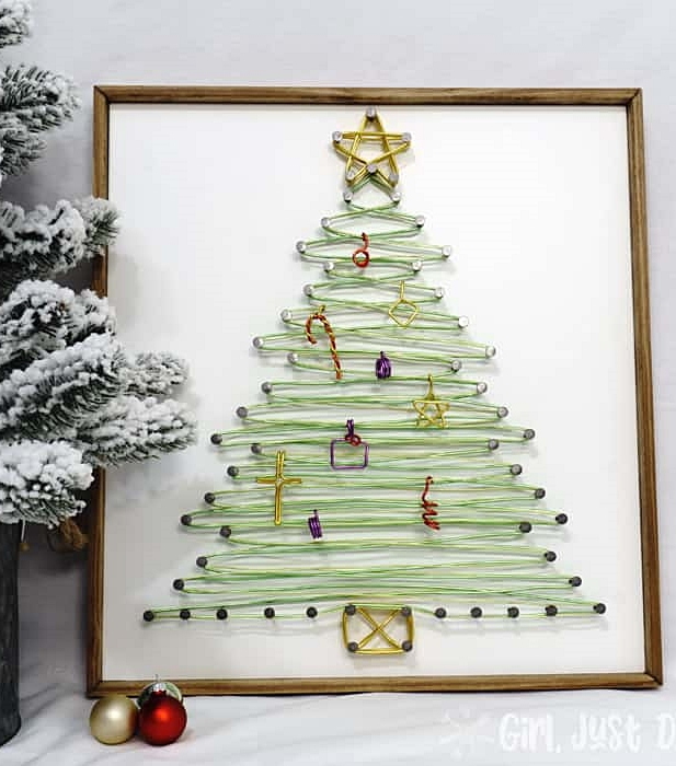 Christmas Tree Wire Art by Girl, Just DIY