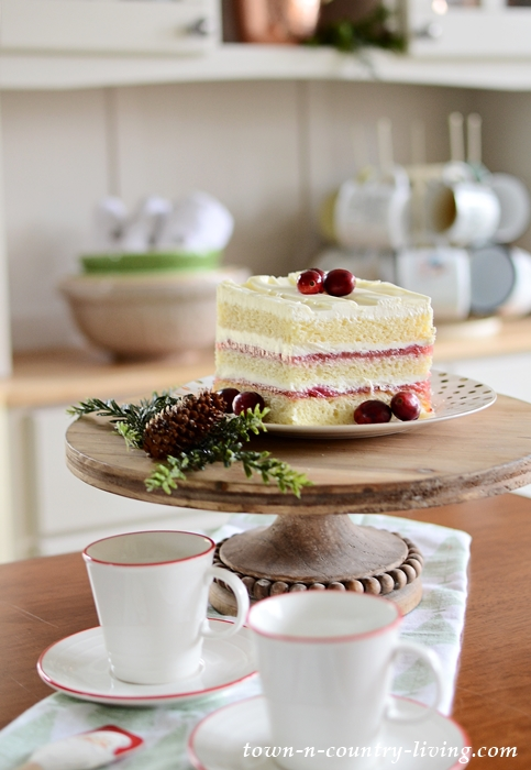 Strawberry Cream Christmas Cake in a Country Kitchen