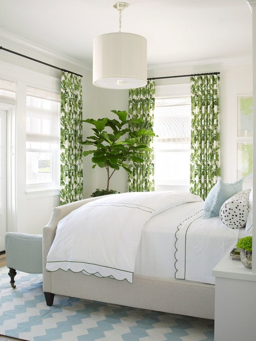 Green and White Traditional Bedroom with Houseplants