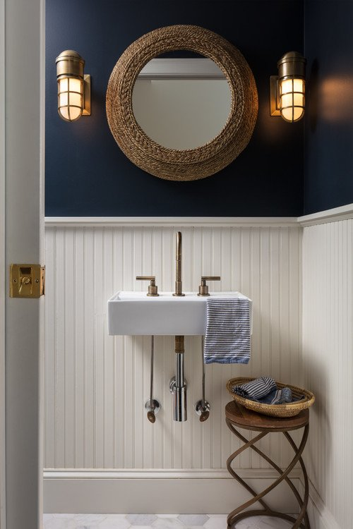 White and Navy Blue Vintage Bathroom