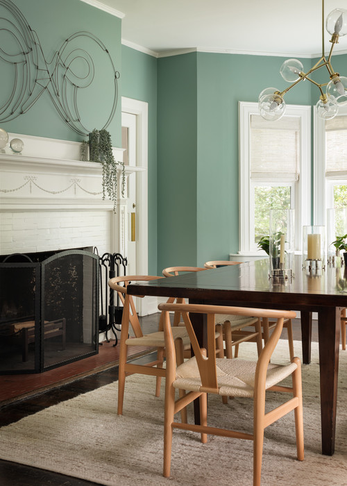 Contemporary Dining Room in Pale Green