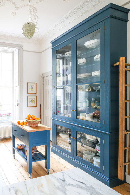 Vintage Blue Hutch and Kitchen Island