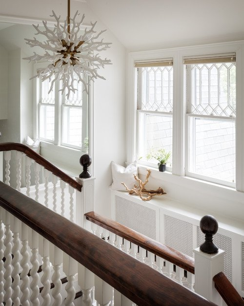 White and Wood Winding Staircase