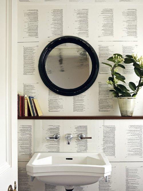 Vintage Bathroom with Book Page Wallpaper