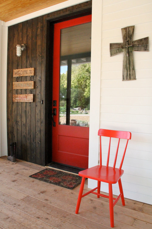 Red Door on Modern Farmhouse Exterior