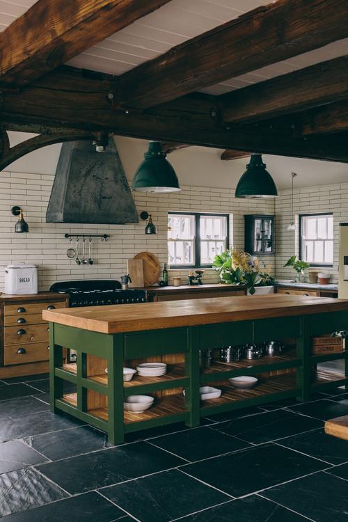 Dark Green Kitchen Island in Rustic Kitchen