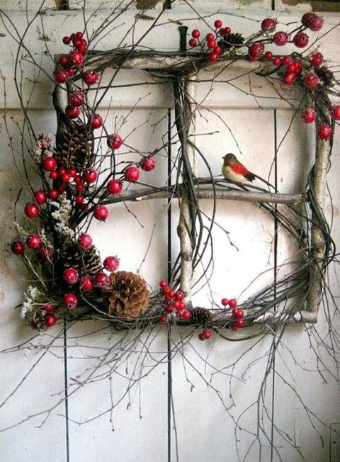 Nature Inspired Christmas Wreath with Branches and Berries