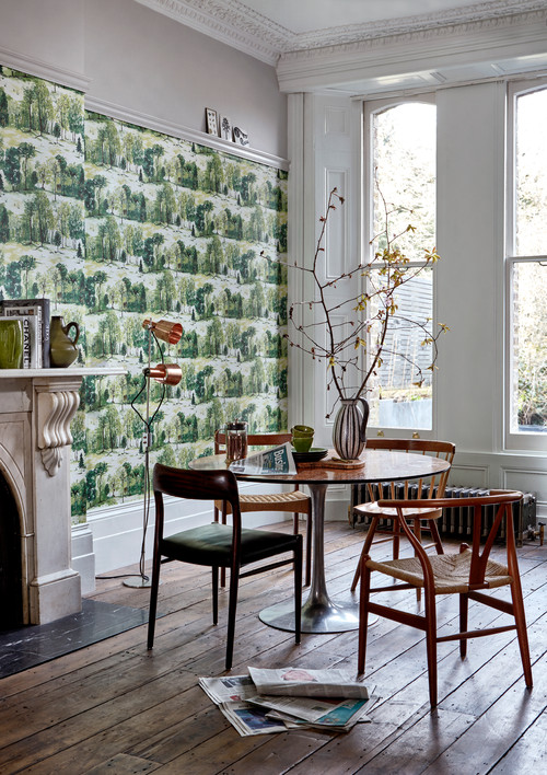 Scandinavian Dining Room with Green and White Wallpaper