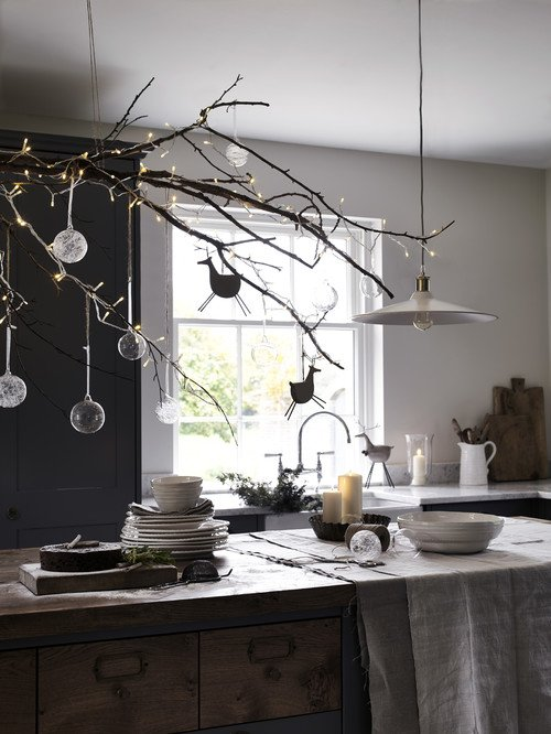 Christmas Decorations in a Scandinavian Kitchen