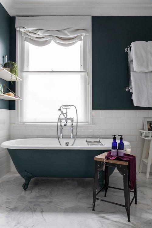 Dark Green Bathroom with Claw Foot Tub