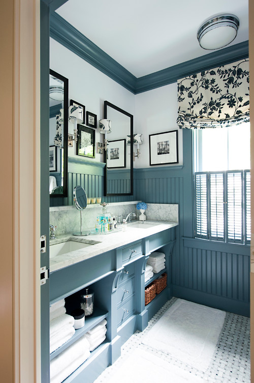 Bathroom with Blue Painted Bead Board