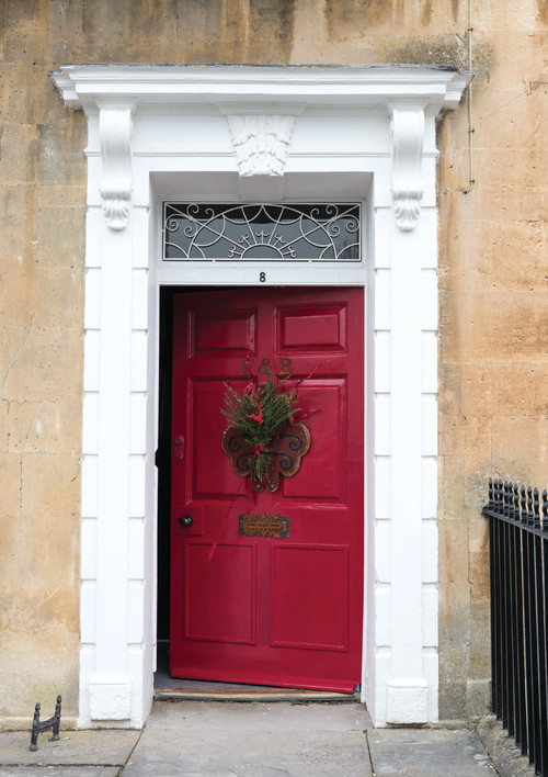 Traditional Entryway with Red Door