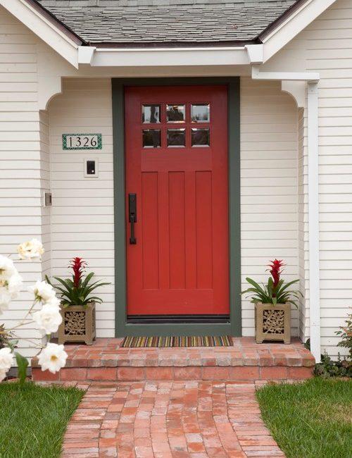 Traditional Red Front Door