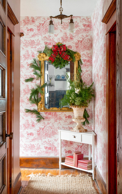 Farmhouse Hallway with Red and White Toile Wallpaper