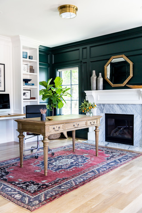 Dark Green Walls in Home Office