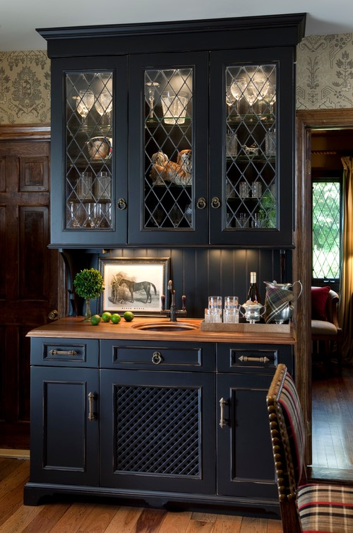 Black Cabinet Hutch in Equestrian Style Touches