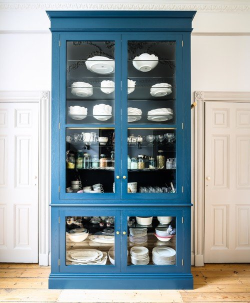 Country Blue Hutch in Victorian Kitchen