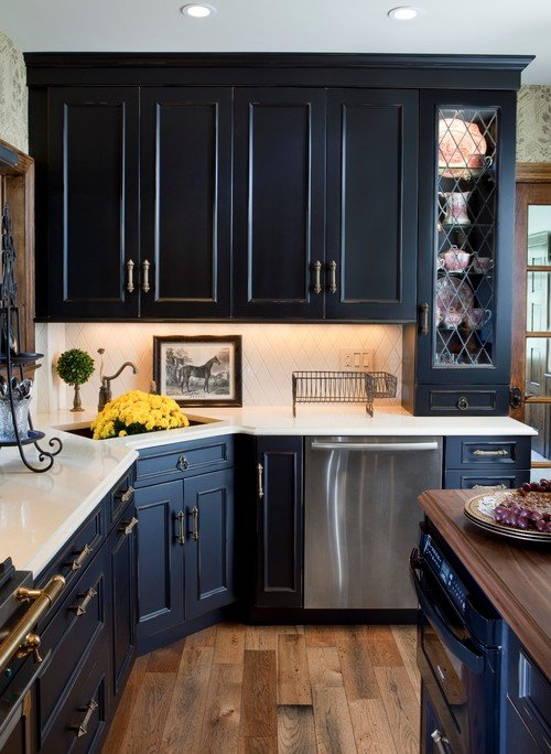 Traditional Black Kitchen with Leaded Glass Cabinet Fronts