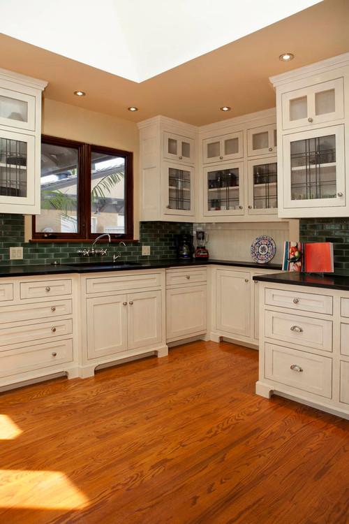 Craftsman Kitchen with Dark Green Subway Tile