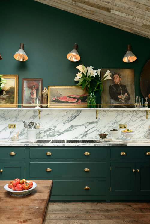 Dark Green Walls and Kitchen Cabinets