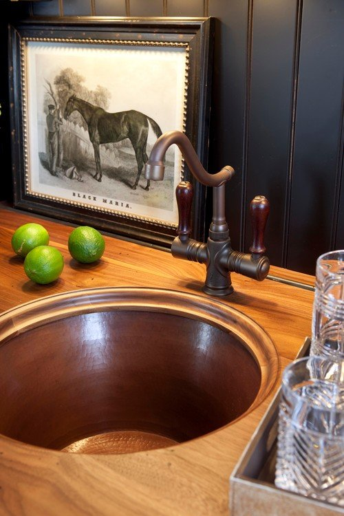 Copper Bar Sink in a Black Kitchen