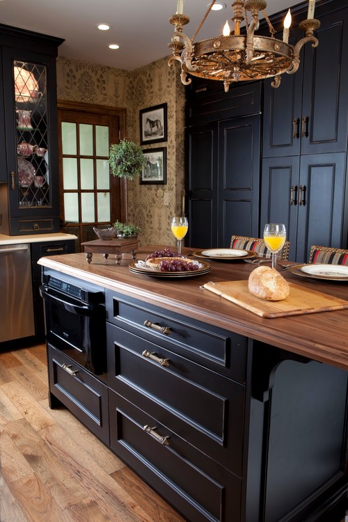 Black Kitchen Island in Traditional Kitchen