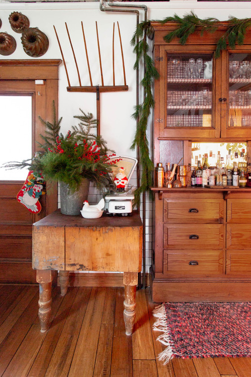 Farmhouse Kitchen with Christmas Decorations