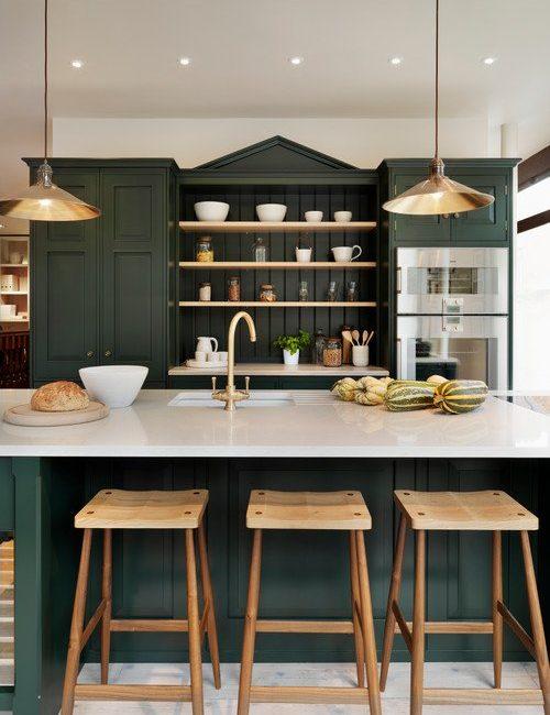 Dark Green Country Kitchen