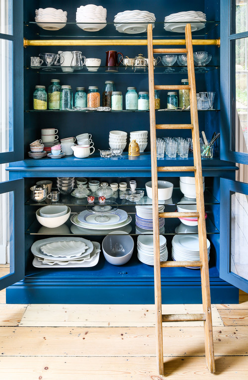 Blue Kitchen Hutch with Ladder