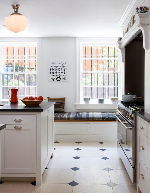 Country Style White Kitchen in Row House