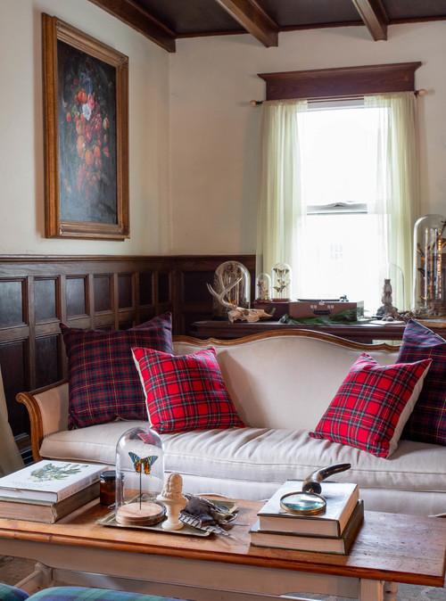Farmhouse Living Room with Antique Sofa