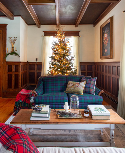 Farmhouse Family Room with Plaid Couch and Christmas Tree