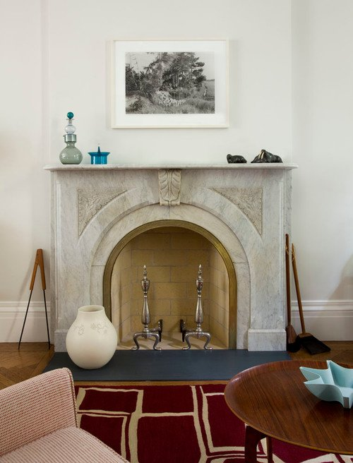 Marble Fireplace in Brooklyn Row House