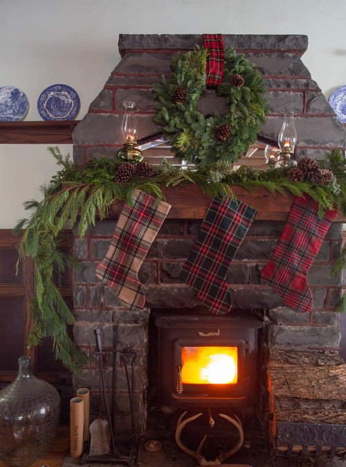 Stone Fireplace with Christmas Garland