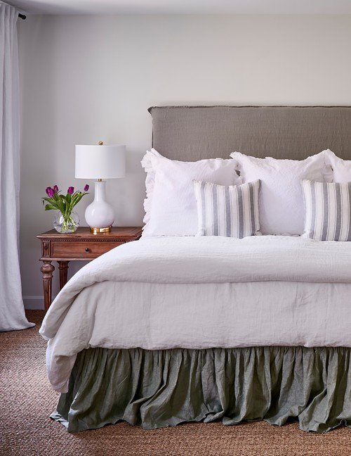 Natural Linen Bedding in Neutral Bedroom