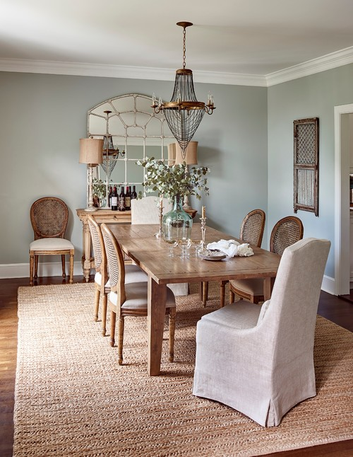 Traditional Dining Room with Sisal Rug